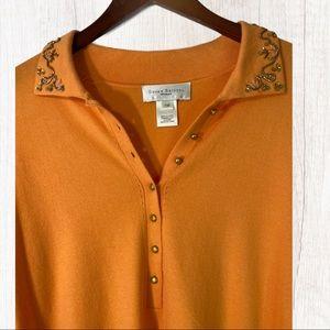 ⭐️2/$25 * Pullover Embellished Orange Cardigan 1W